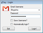 gTray Beta 1.0 - Application test Gmail mailbox for PC